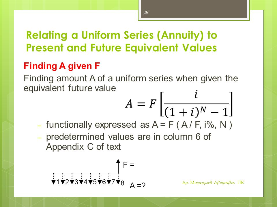 Relating a Uniform Series (Annuity) to Present and Future Equivalent Values