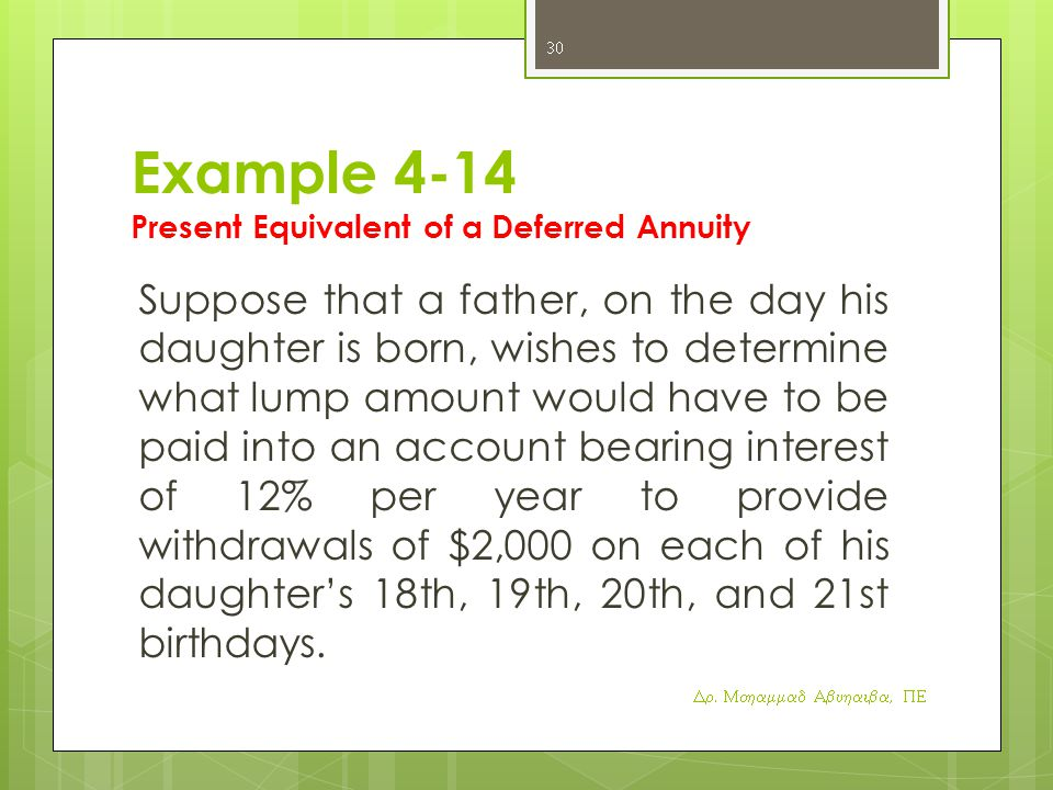 Example 4-14 Present Equivalent of a Deferred Annuity