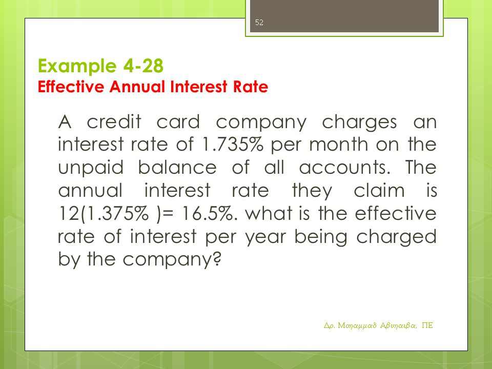 Example 4-28 Effective Annual Interest Rate