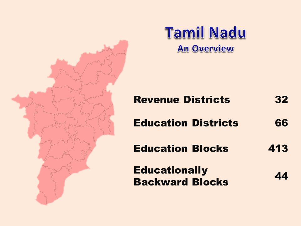 Tamil Nadu An Overview Revenue Districts 32 Education Districts 66