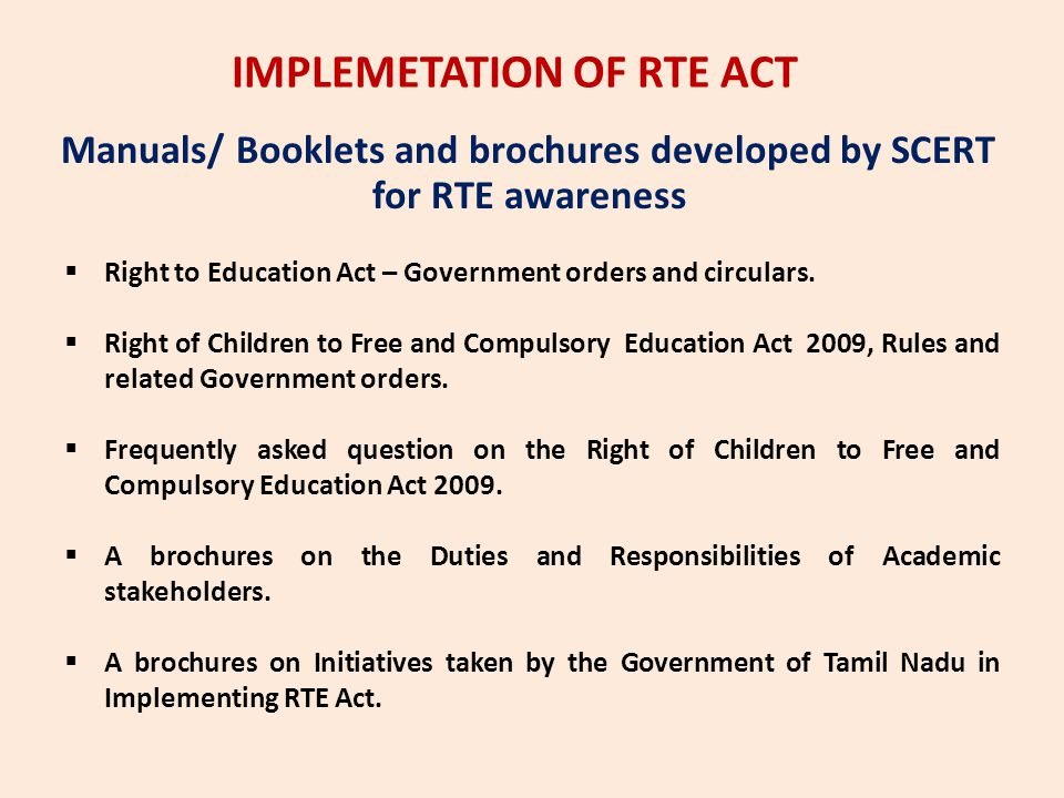 IMPLEMETATION OF RTE ACT