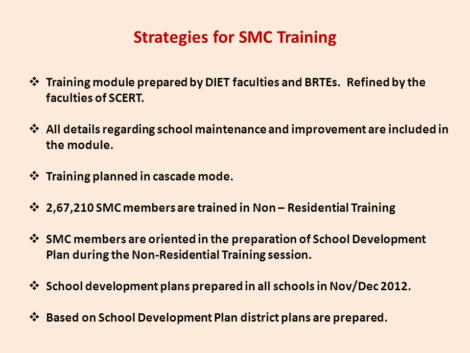 Strategies for SMC Training