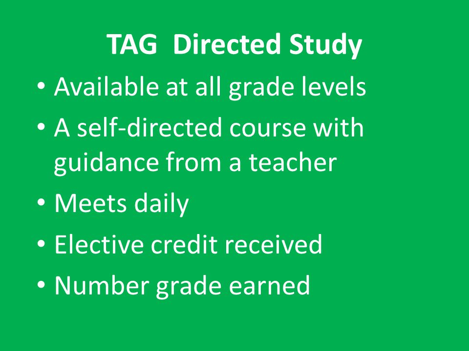 TAG Directed Study Available at all grade levels