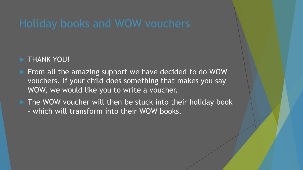 Holiday books and WOW vouchers