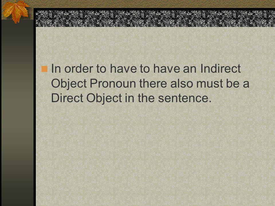 In order to have to have an Indirect Object Pronoun there also must be a Direct Object in the sentence.