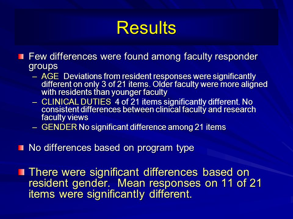 Results Few differences were found among faculty responder groups.
