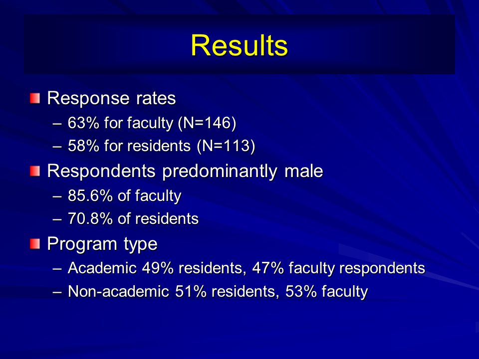 Results Response rates Respondents predominantly male Program type