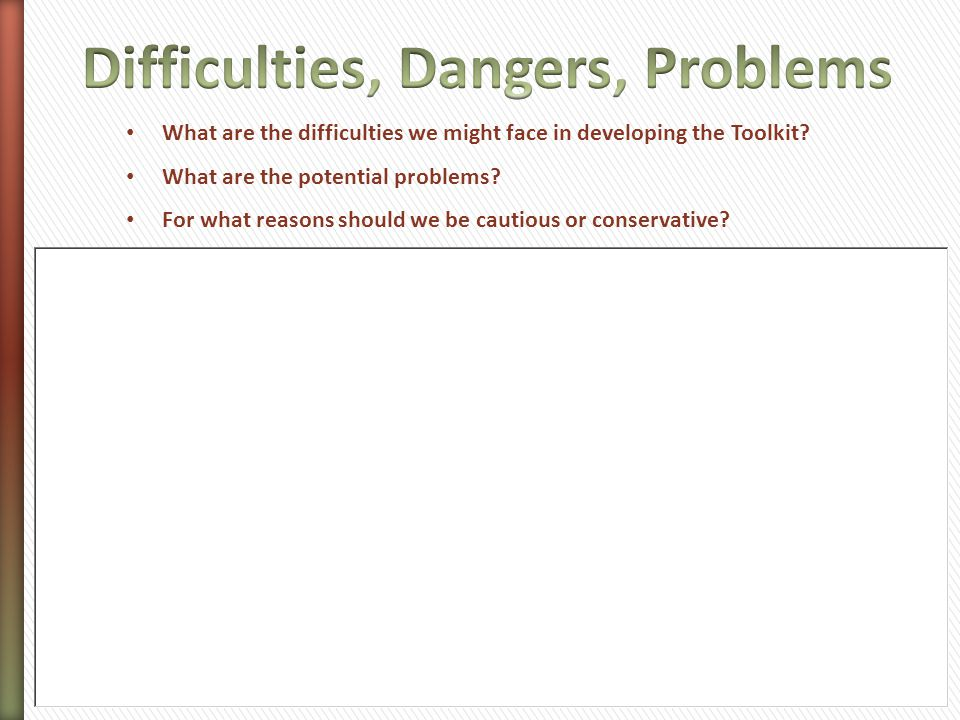Difficulties, Dangers, Problems