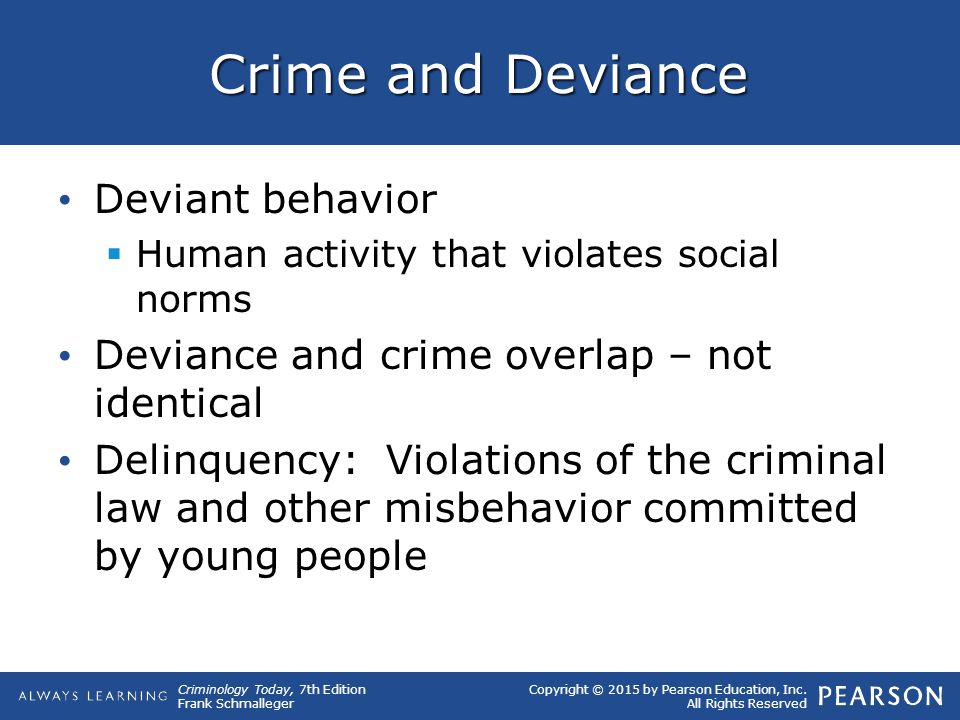 Crime and Deviance Deviant behavior