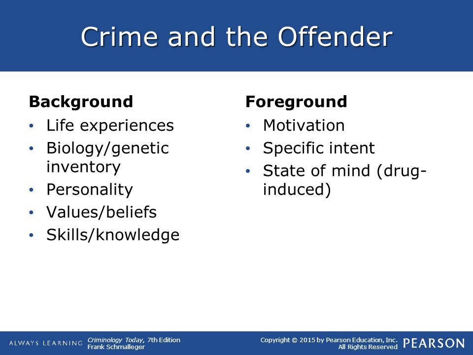 Crime and the Offender Background Foreground Life experiences