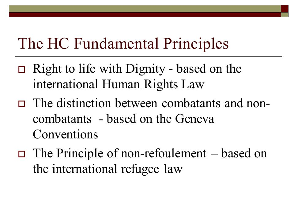 The HC Fundamental Principles