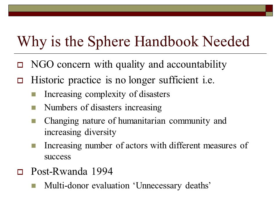 Why is the Sphere Handbook Needed