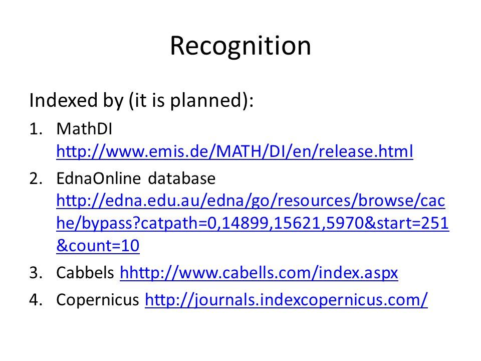 Recognition Indexed by (it is planned):