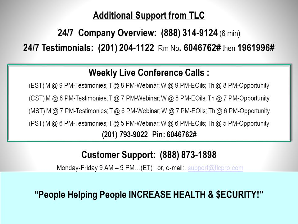 Additional Support from TLC