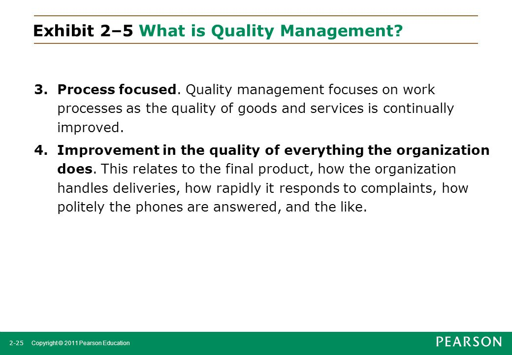 Exhibit 2–5 What is Quality Management
