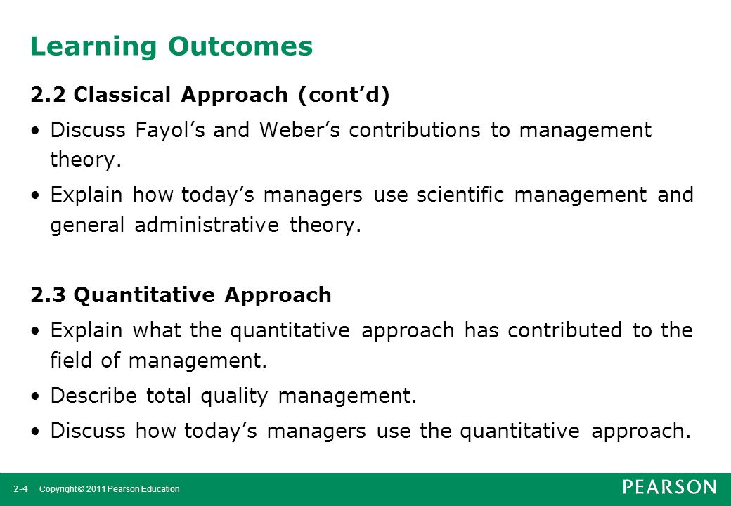 Learning Outcomes 2.2 Classical Approach (cont'd)