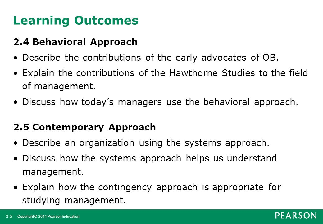 Learning Outcomes 2.4 Behavioral Approach