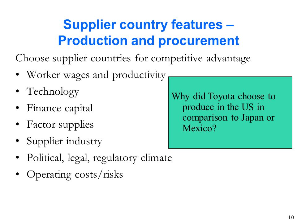 Supplier country features – Production and procurement