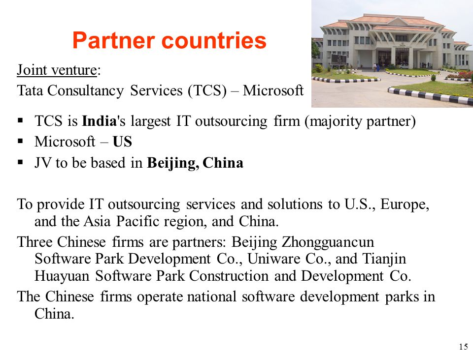 Partner countries Joint venture: