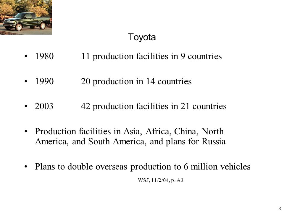 Toyota 1980 11 production facilities in 9 countries. 1990 20 production in 14 countries.