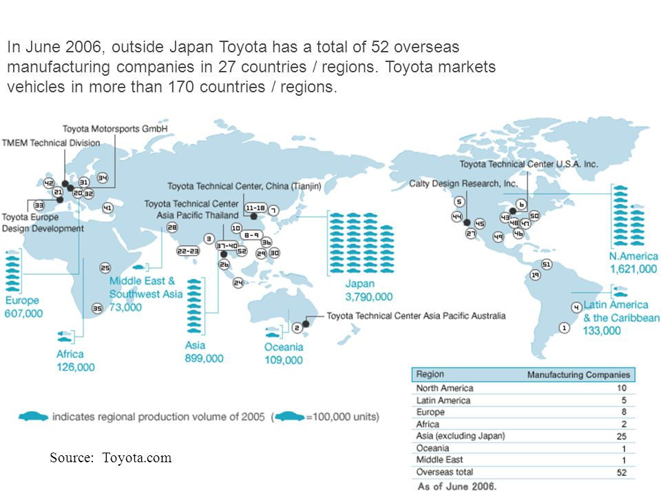 In June 2006, outside Japan Toyota has a total of 52 overseas manufacturing companies in 27 countries / regions. Toyota markets vehicles in more than 170 countries / regions.
