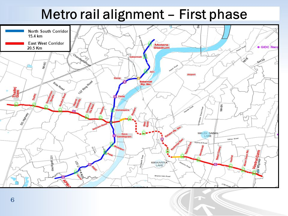 Metro rail alignment – First phase