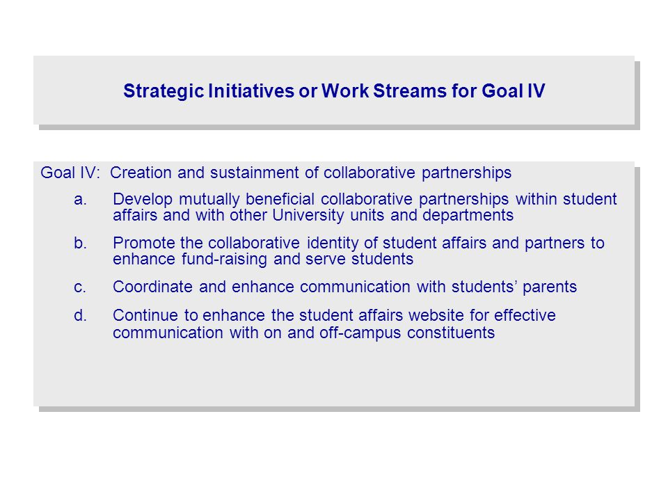 Strategic Initiatives or Work Streams for Goal IV