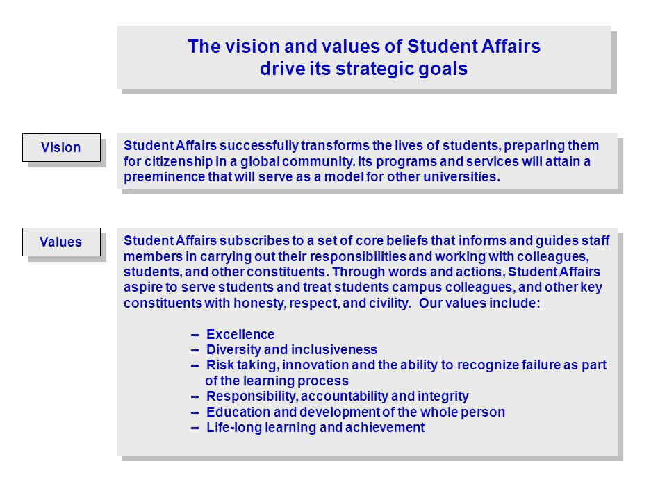 The vision and values of Student Affairs drive its strategic goals