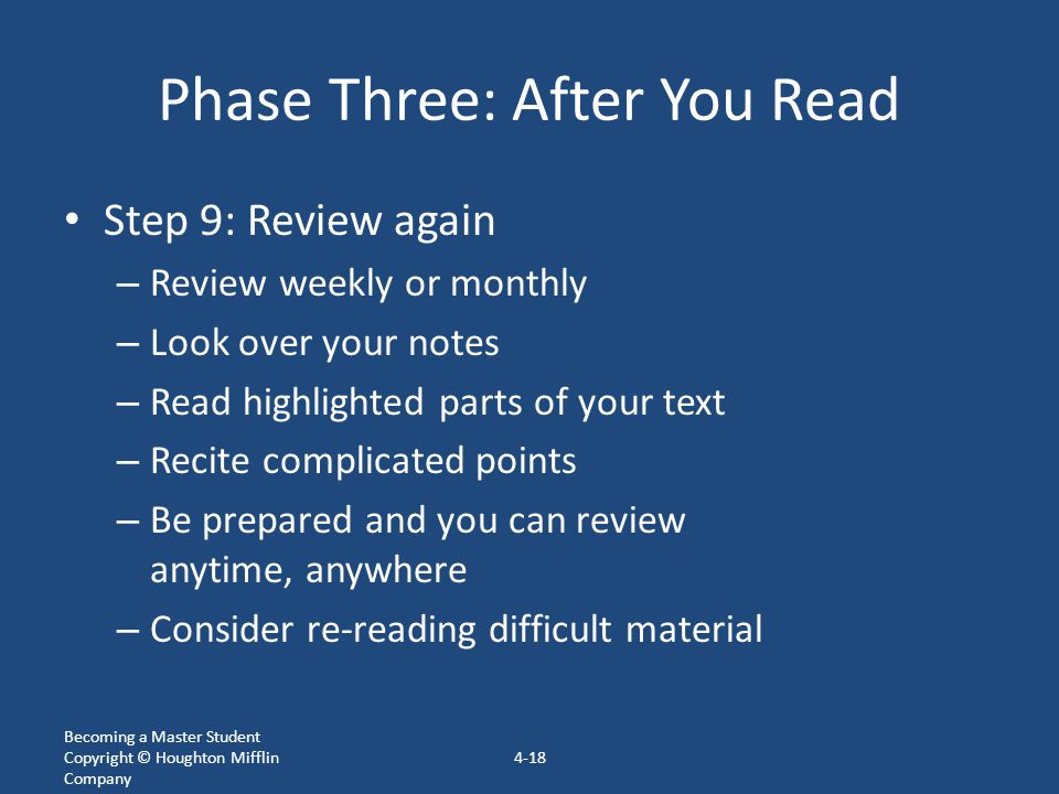 Phase Three: After You Read