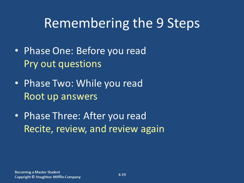 Remembering the 9 Steps Phase One: Before you read Pry out questions