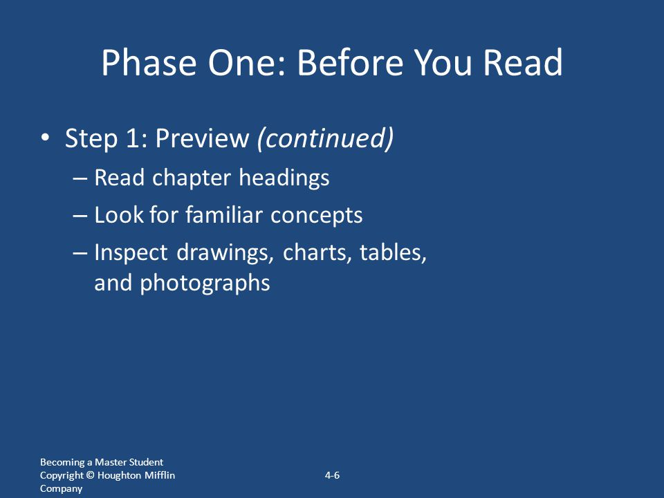 Phase One: Before You Read