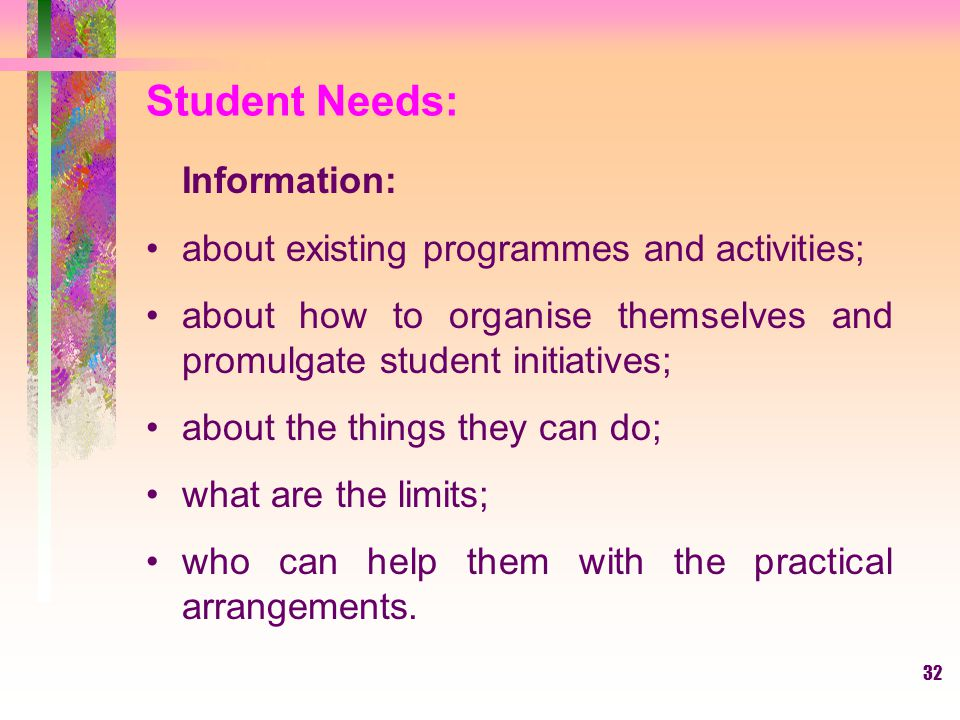 Student Needs: Information: about existing programmes and activities;