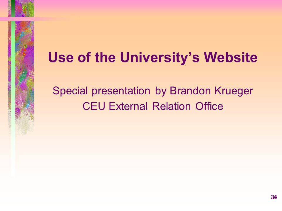 Use of the University's Website