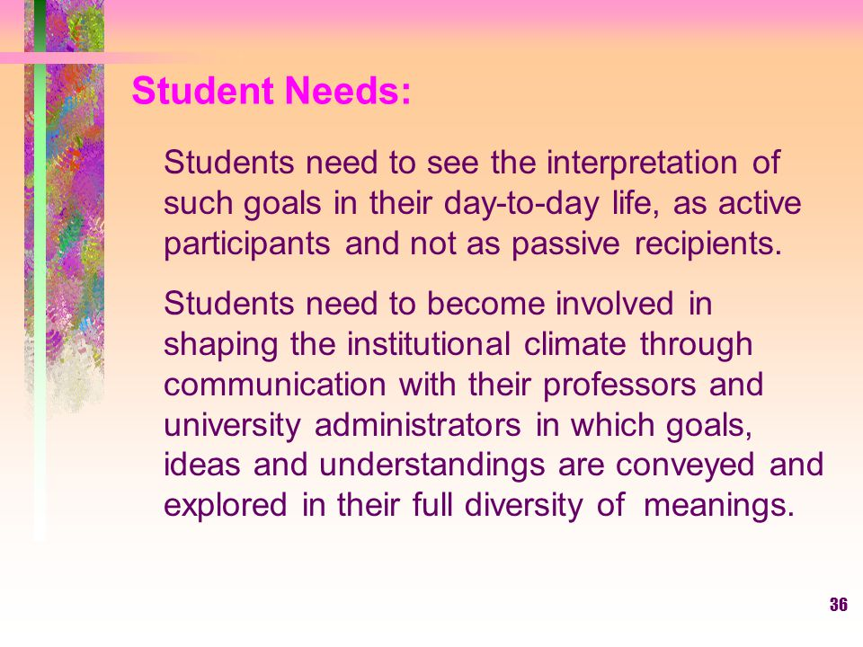 Student Needs: Students need to see the interpretation of such goals in their day-to-day life, as active participants and not as passive recipients.