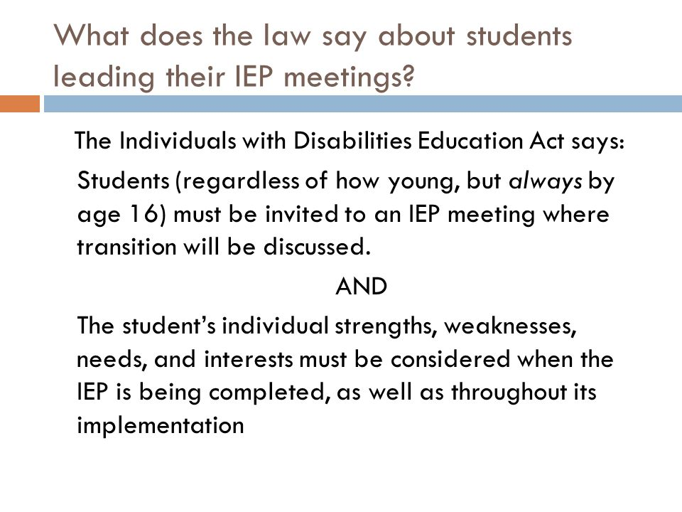 What does the law say about students leading their IEP meetings