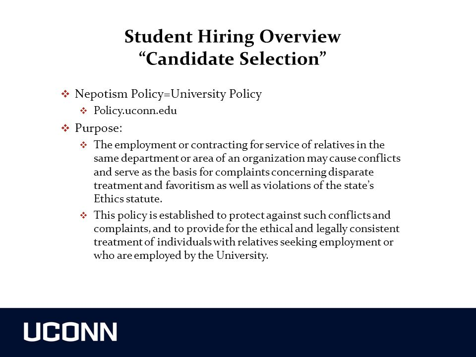 Student Hiring Overview Candidate Selection
