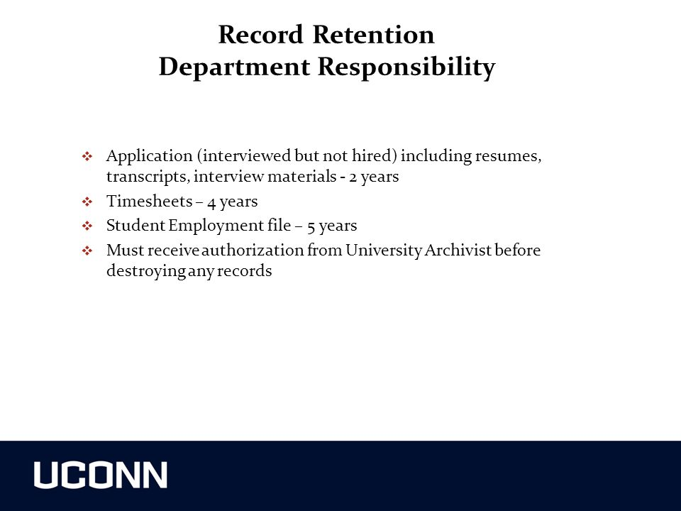Record Retention Department Responsibility