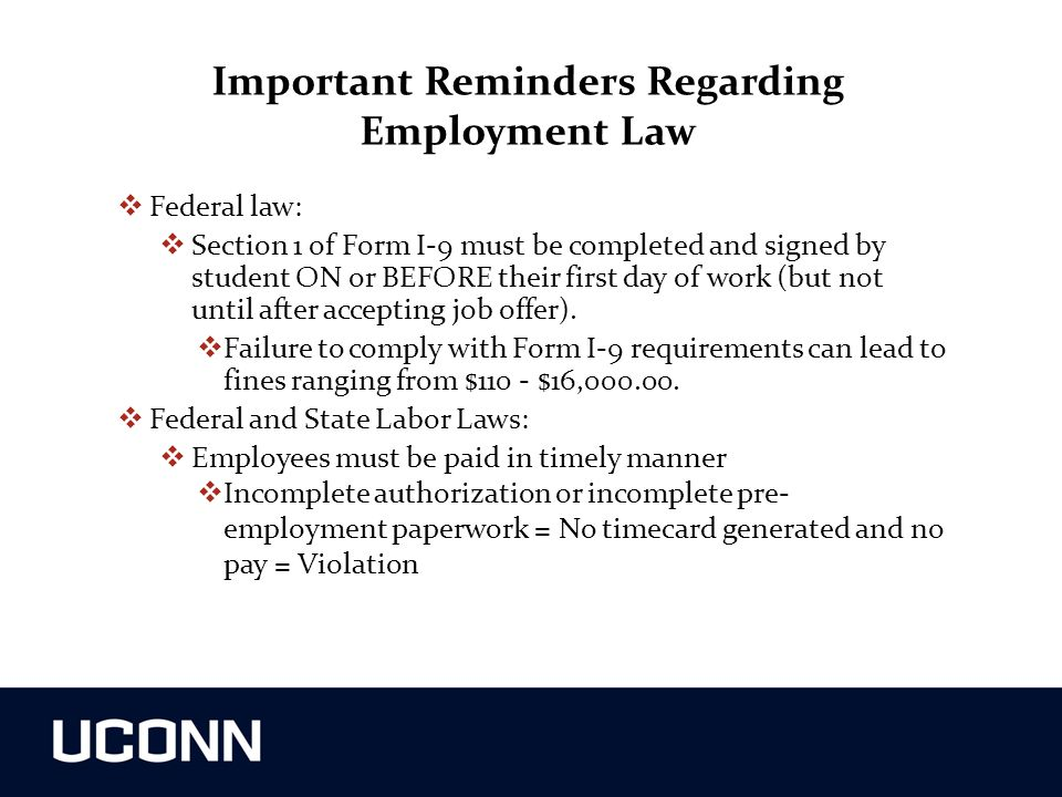 Important Reminders Regarding Employment Law