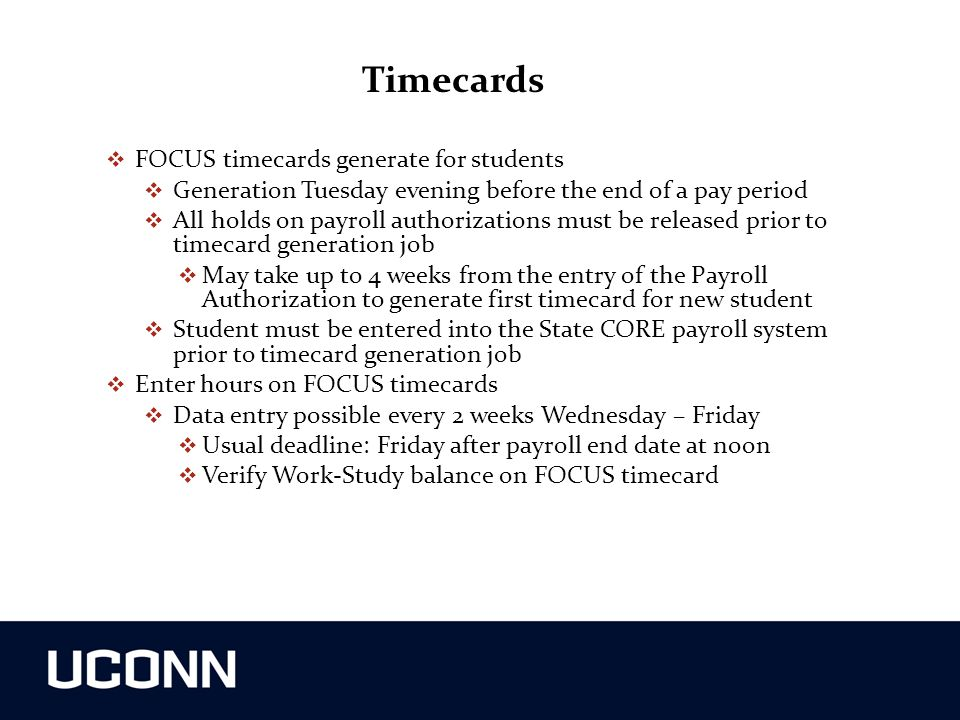 Timecards FOCUS timecards generate for students