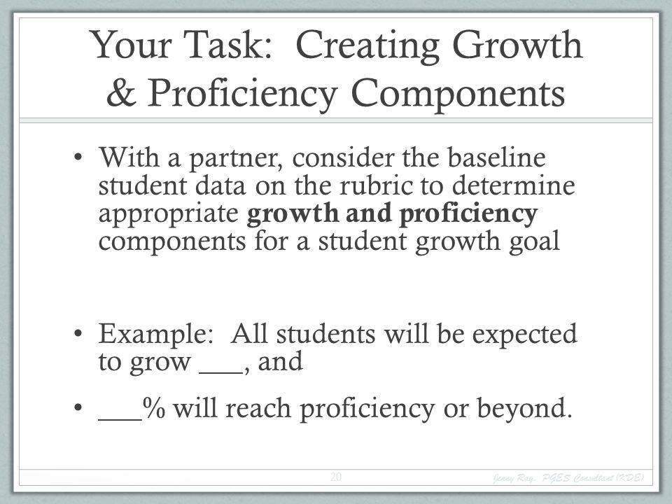 Your Task: Creating Growth & Proficiency Components