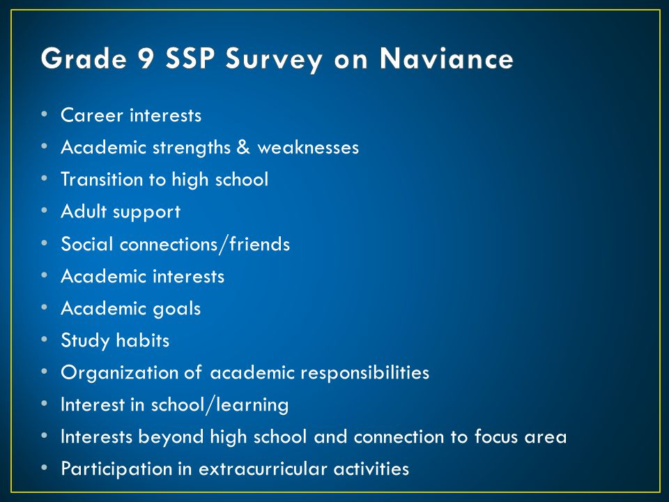 Grade 9 SSP Survey on Naviance