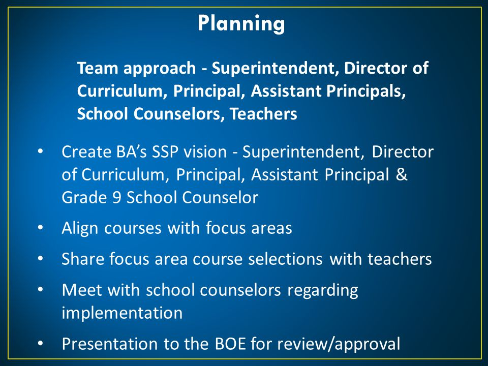 Planning Team approach - Superintendent, Director of Curriculum, Principal, Assistant Principals, School Counselors, Teachers.