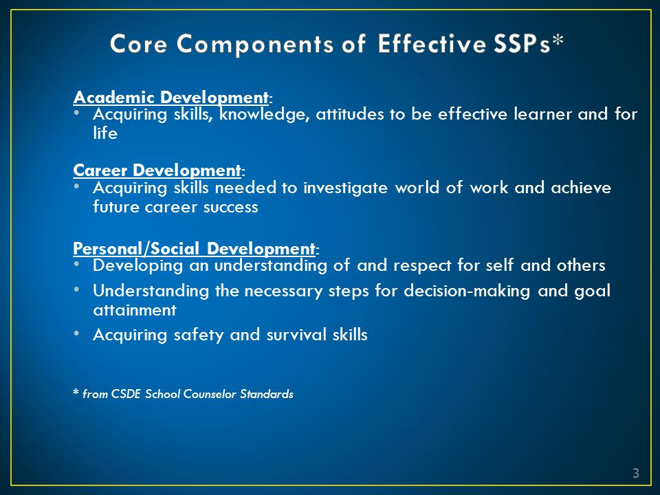 Core Components of Effective SSPs*