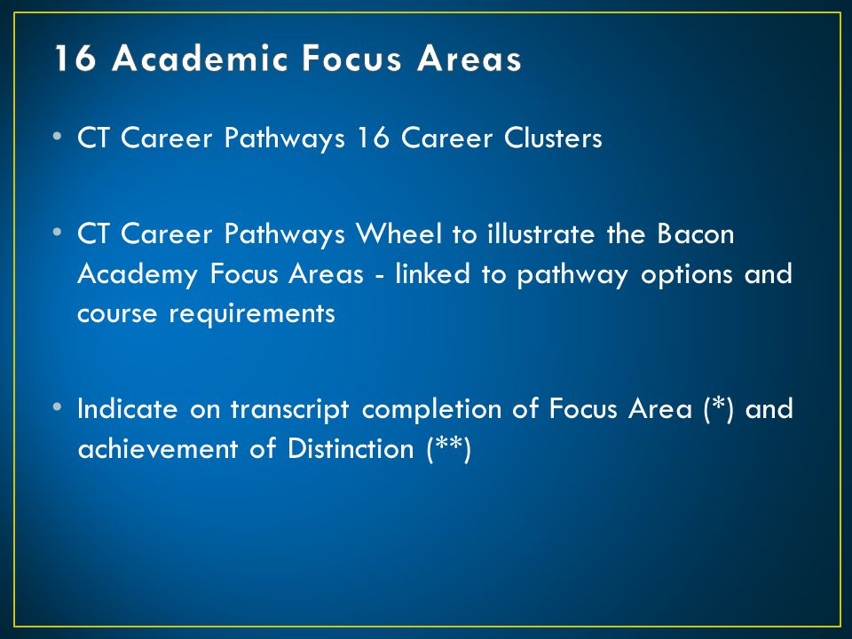 16 Academic Focus Areas CT Career Pathways 16 Career Clusters