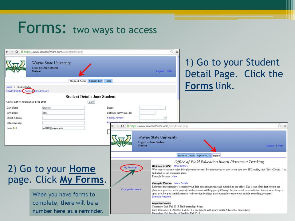 Forms: two ways to access