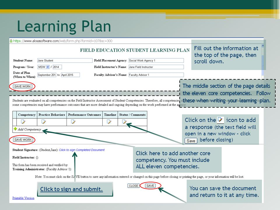 Learning Plan Fill out the information at the top of the page, then scroll down.