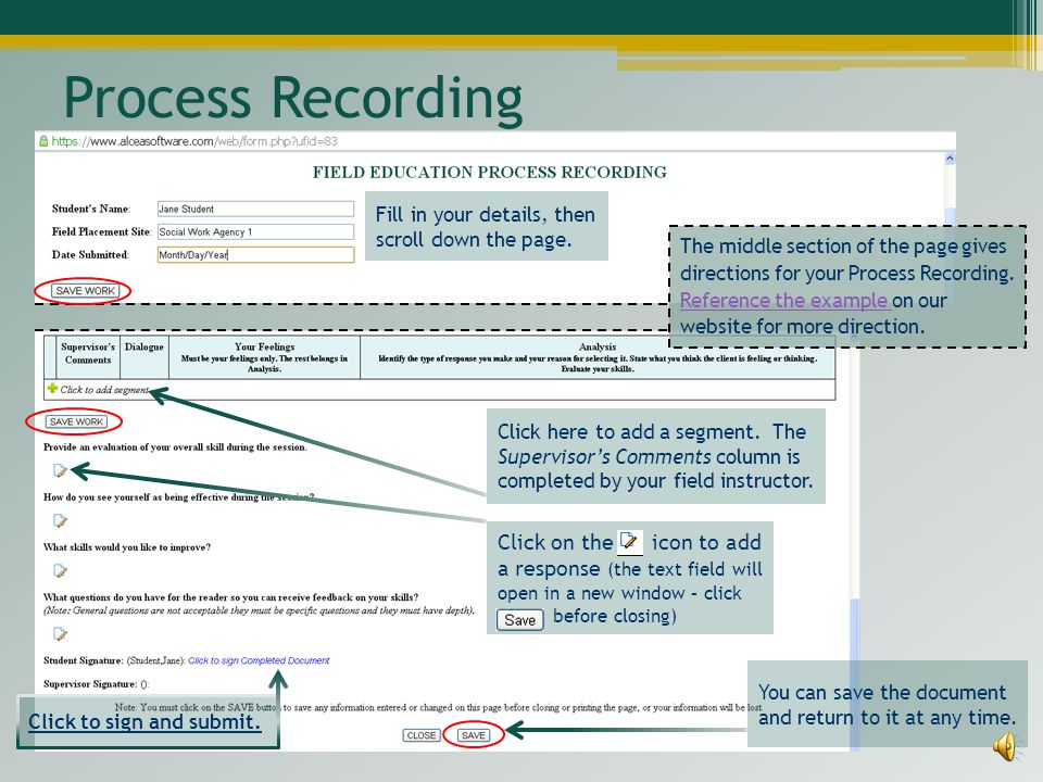 Process Recording Fill in your details, then scroll down the page.