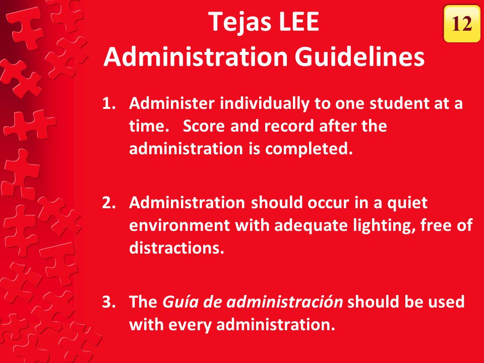 Tejas LEE Administration Guidelines