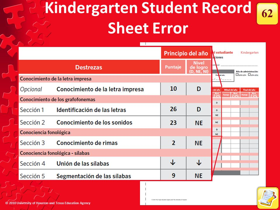 Kindergarten Student Record Sheet Error