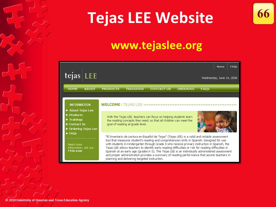 Tejas LEE Website 66 www.tejaslee.org The Tejas LEE website has…